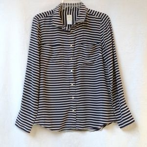J. CREW Boy Shirt Crepe De Chine Stripes Silk 10